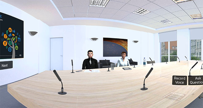 Virtual boardroom for sales pitch presentation to get speech analysis feedback.