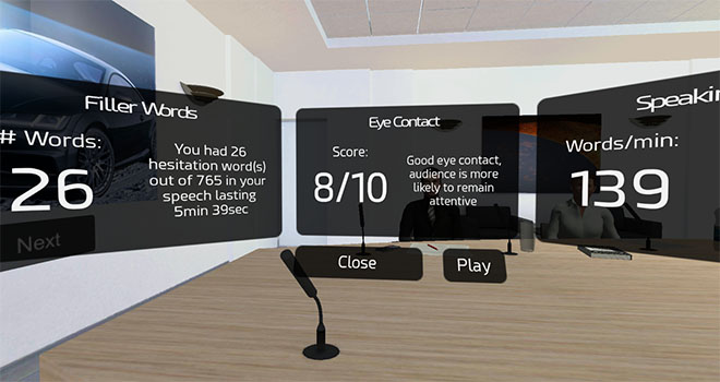 Get feedback on your sales pitch presentation in VR with speech-to-text technology and motion tracking.