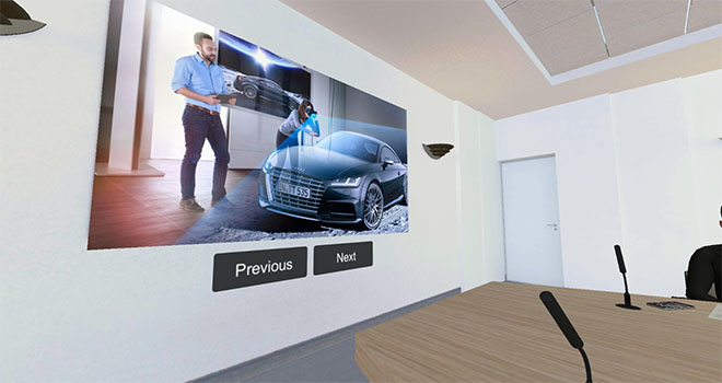 Practice sales pitch with your own presentation slides in VR