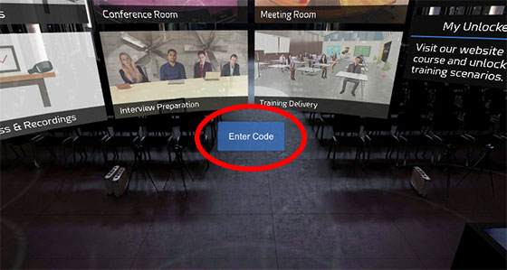 Enter code in the Oculus Go