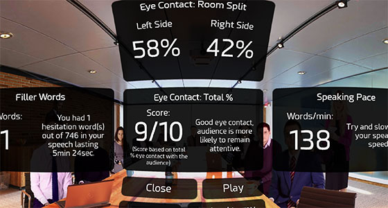 Analyse your voice in VR for hesitation words and filler words