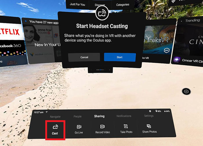 Cast your Oculus Go headset screen to a mobile device