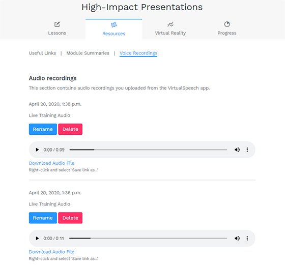 Uploaded speeches shown in the learning portal