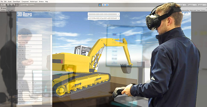 Health and safety training with VR in civil engineering.