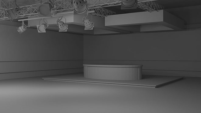 TV studio design as grayscale