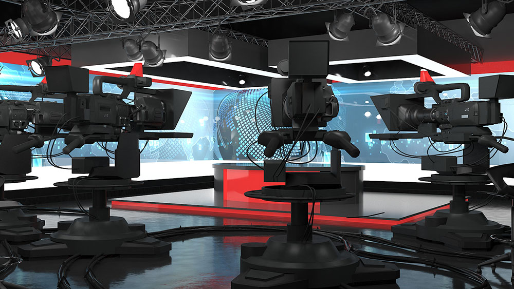 BBC studio with cameras and other equipment for media training in VR