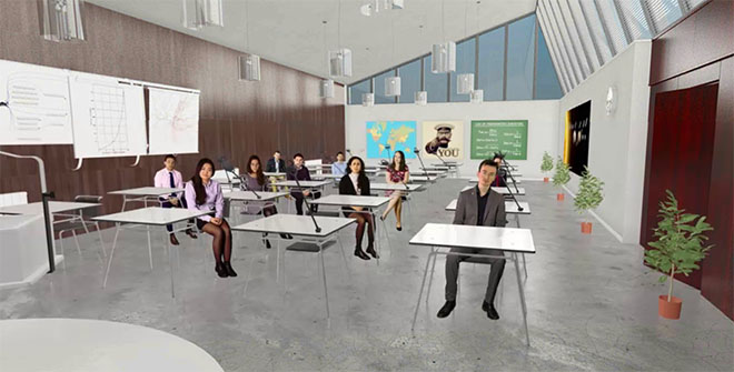 Classroom in VR to practice teaching