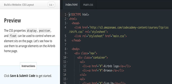 Codecademy let you learn through practice