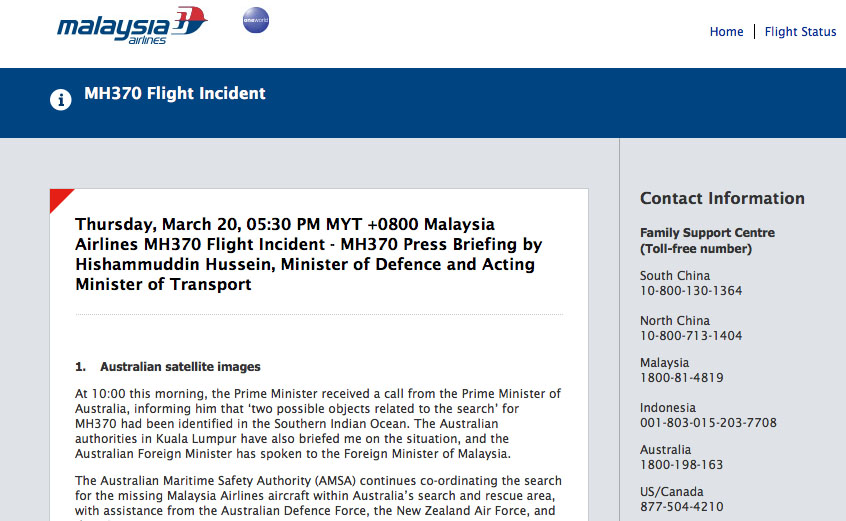 Malaysia airlines dark site for crisis
