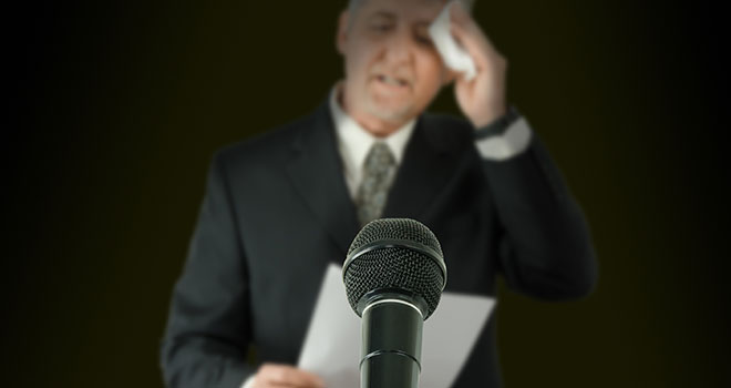 Fear of public speaking or glossophobia for a presentation of public speech