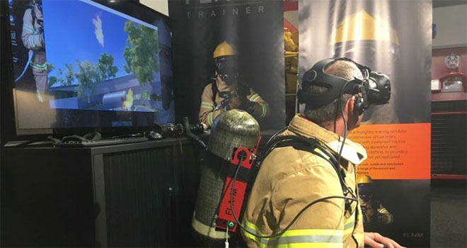 Flaim System firefighting in VR