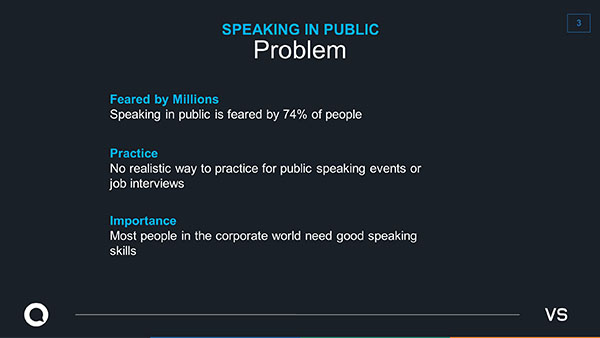 Good slide design, small amount of text to support what the speaker is saying.