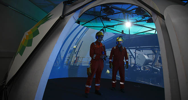 Chemical engineers training inside an Igloo Vision dome.
