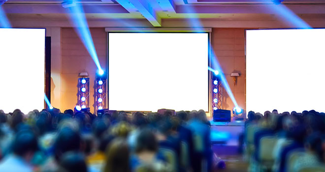 Lighting at a large conference presentation