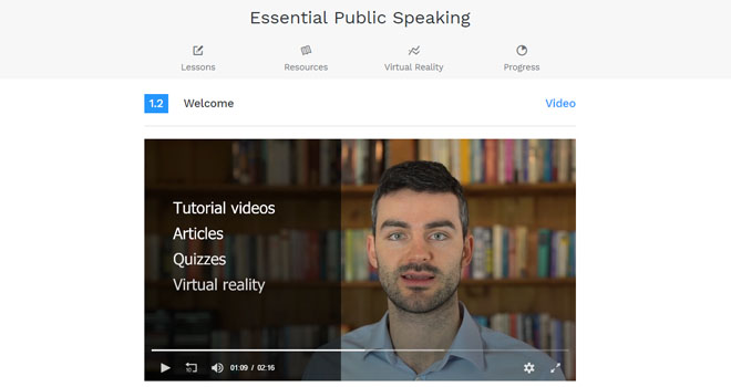 VirtualSpeech online portal for video lecture
