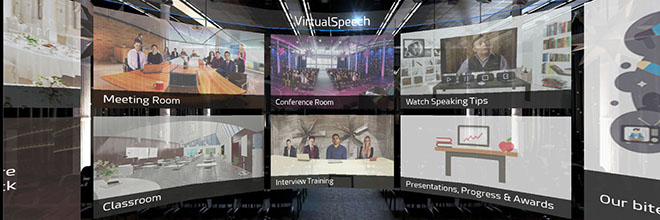 Public speaking VR training and practice rooms