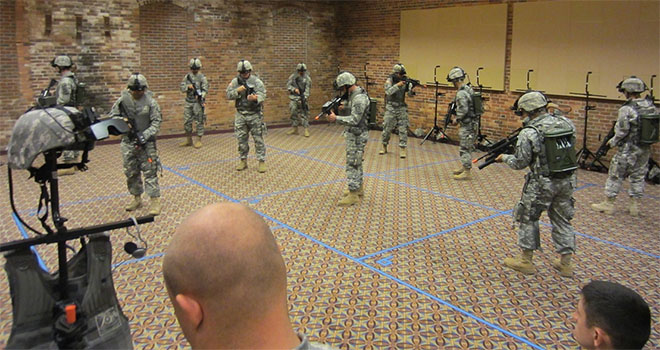 VR being used as part of military training.