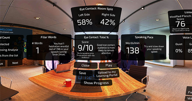 Sales VR training with feedback
