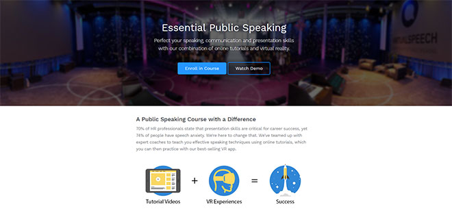 VirtualSpeech public speaking course improves communication skills