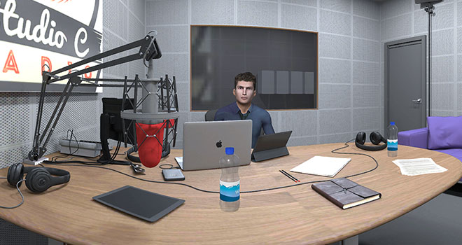 Radio interview room in VR
