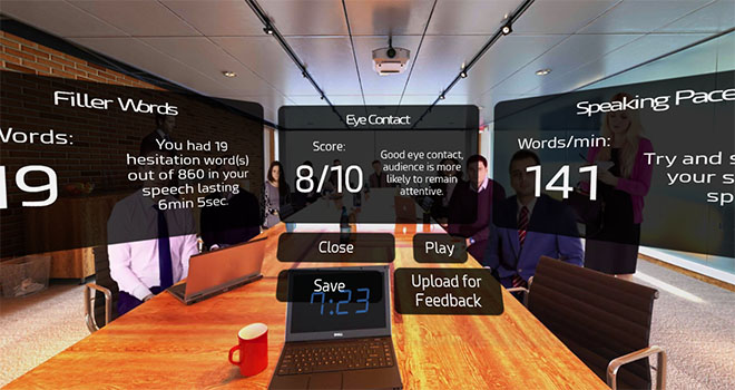 Get feedback on your speech in VR with speech-to-text technology and motion tracking.