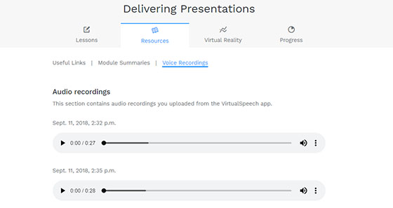 Upload your speech to the VirtualSpeech learning portal
