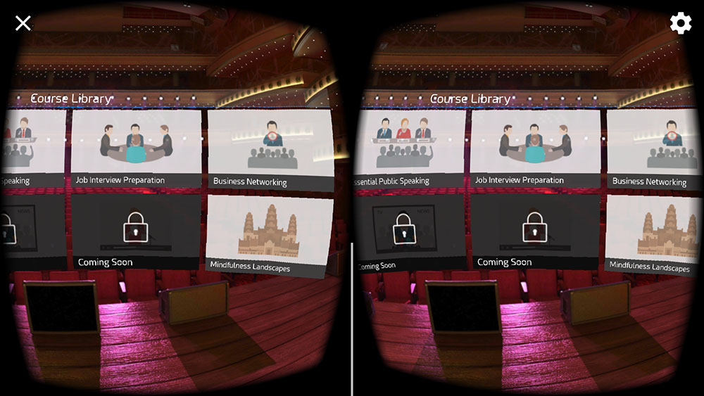 Select online courses in VR app