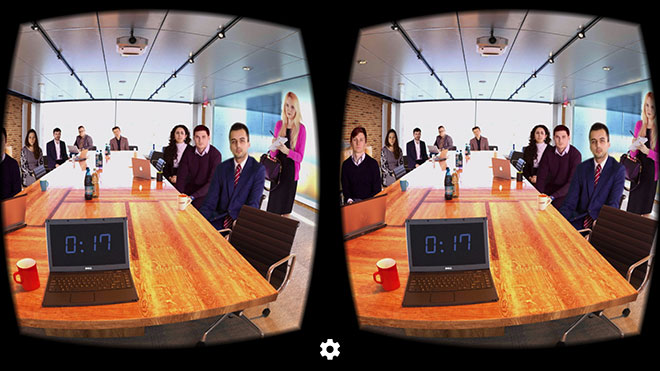 Public speaking and communication training in VR meeting room with VirtualSpeech app
