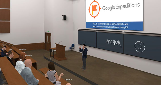 VR classroom lecture in the Engage VR application