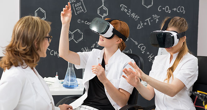 VR classroom with a teacher and students