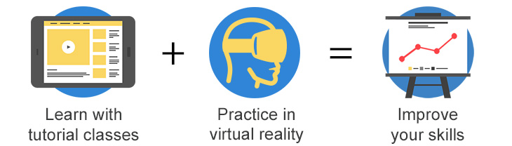Learn with tutorial videos, practice in virtual reality, improve your skills
