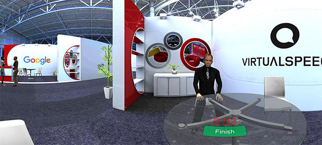 Practice selling at a trade show in VR