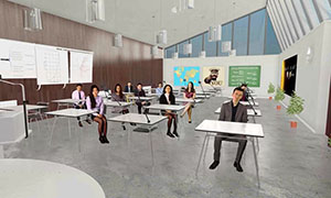 VR styled classroom to practice lesson plans for teachers