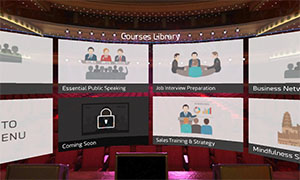 VR public speaking and communication skills training course