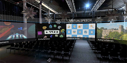 VirtualSpeech main menu VR language learning