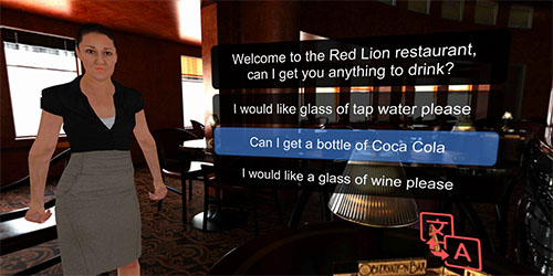 Learn a language by ordering a meal in a restaurant from a VR avatar