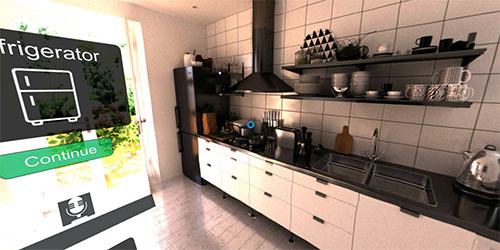 Learning a language in a vocab kitchen VR environment
