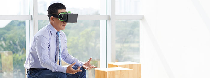 Man wearing a vr headset practicing business skills