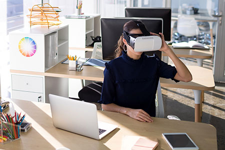Woman training with VR in an office